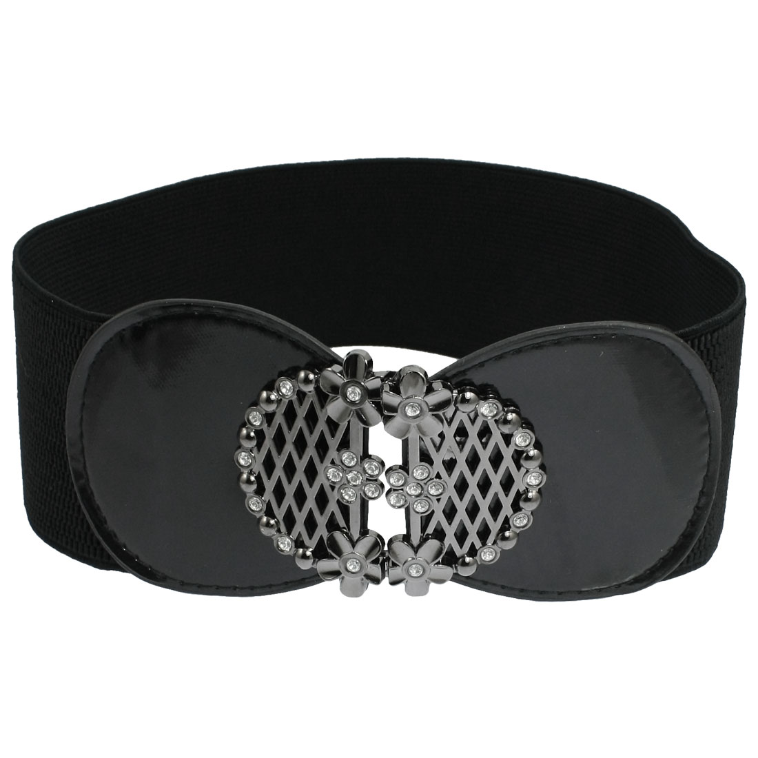 Woman Rhinestone Flowers Grid Accent Faux Leather Elastic Waistband Black