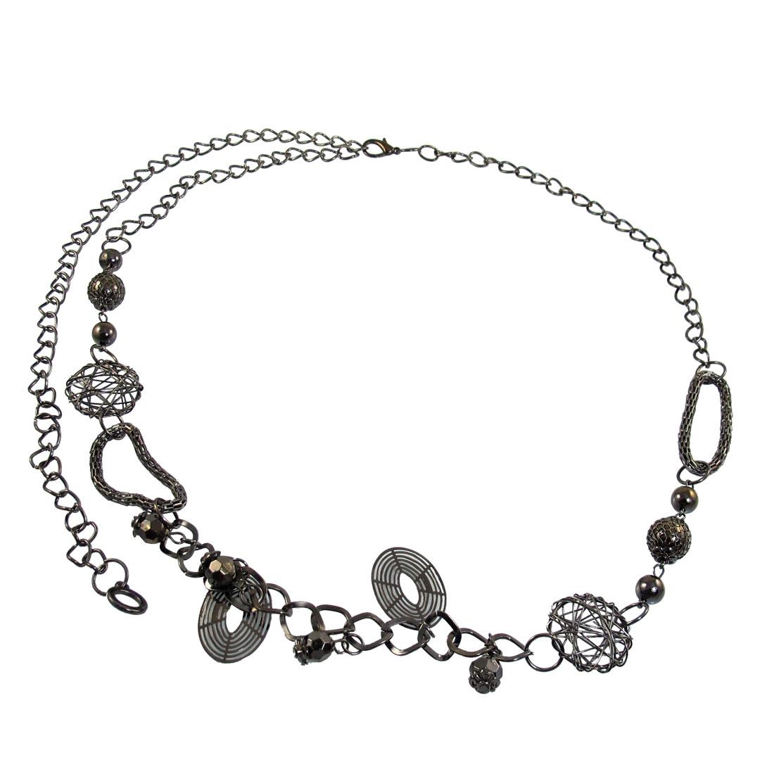 Dark Gray Metal Hoops Multi String Link Waist Belt Chain for Ladies
