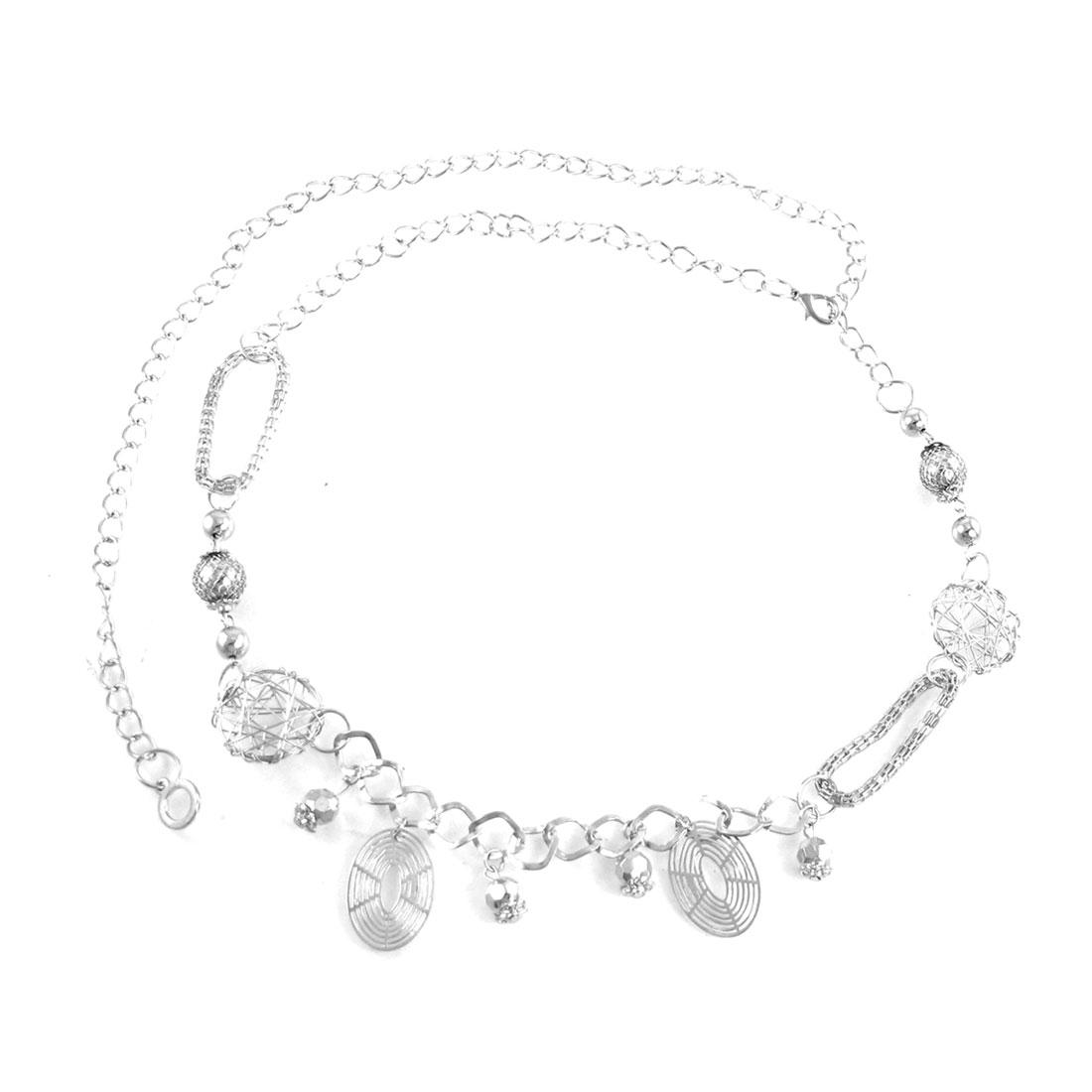 Women Metal Beads Circle Decor Lobster Clasp Slim Chain Waist Silver Tone