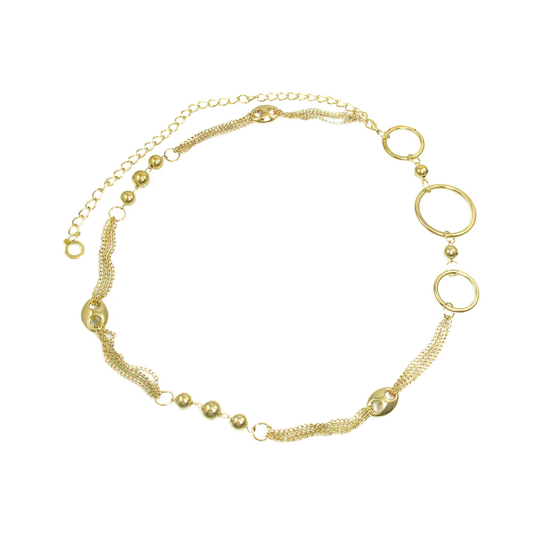 Women Metal Beads Circle Decor Lobster Hook Slim Chain Waist Gold Tone