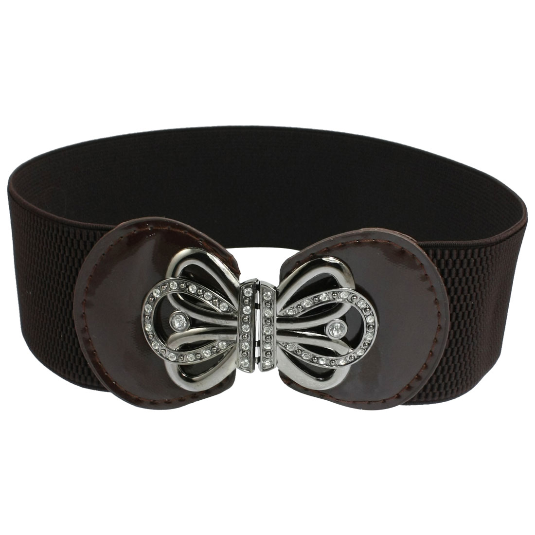 Lady Floral Buckle Faux Leather Elastic Cinch Band Waist Belt Coffee Color