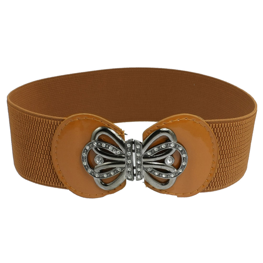 Lady Floral Buckle Faux Leather Elastic Cinch Band Waist Belt Brown