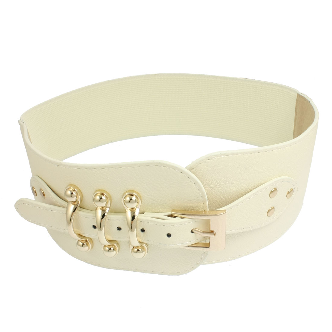 "Lady Gold Tone Single Pin Faux Leather 3.5"" Width Off White Elastic Belt"