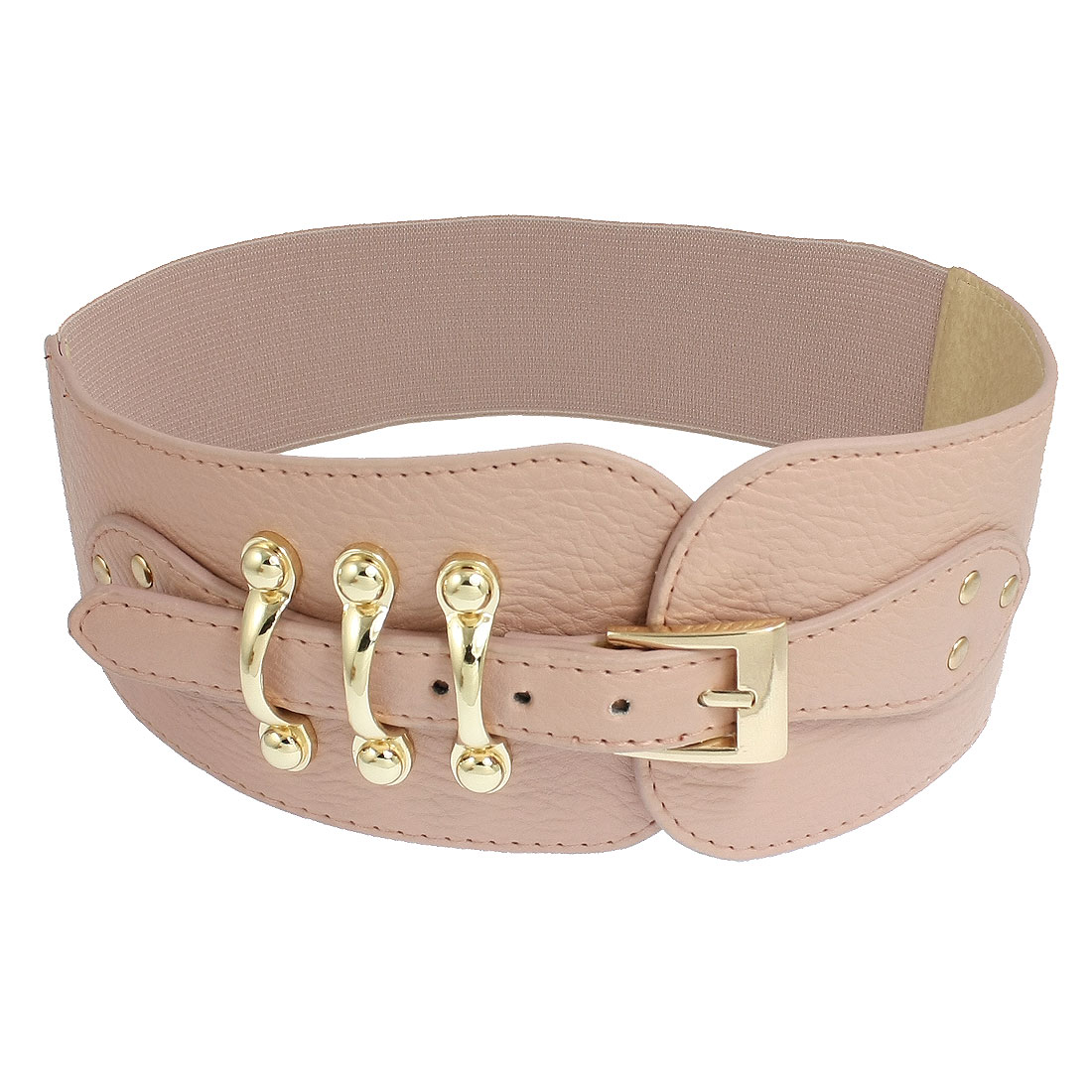 Women Faux Leather Single Pin Buckle Wide Pink Stretchy Waistband Strap
