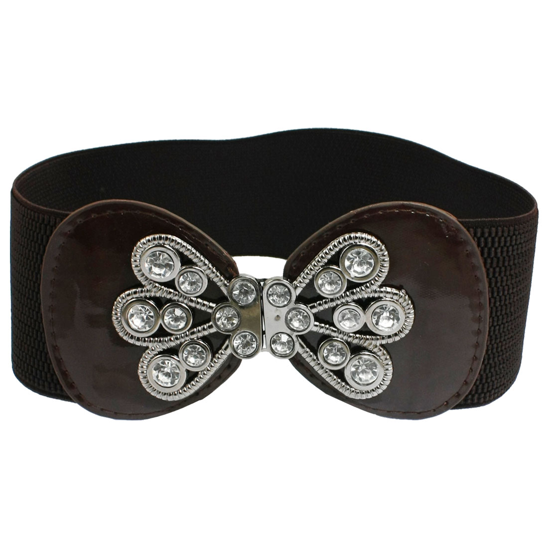 Lady Rhinestone Inlaid Floral Coffee Color Faux Leather Elastic Waistband