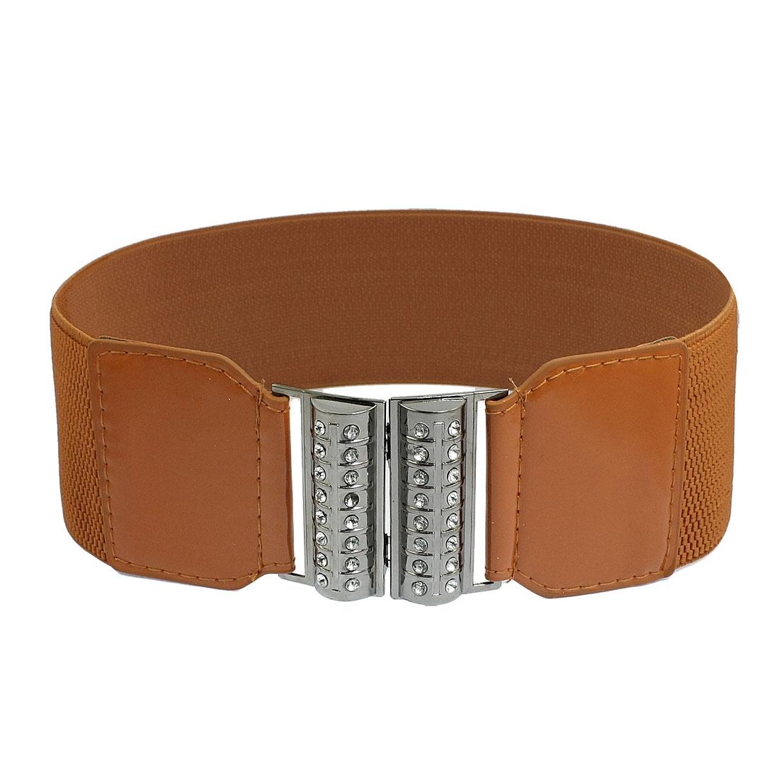 Glittery Rhinestone Inlaid Metal Bars Women Brown Stretchy Belt Ornament