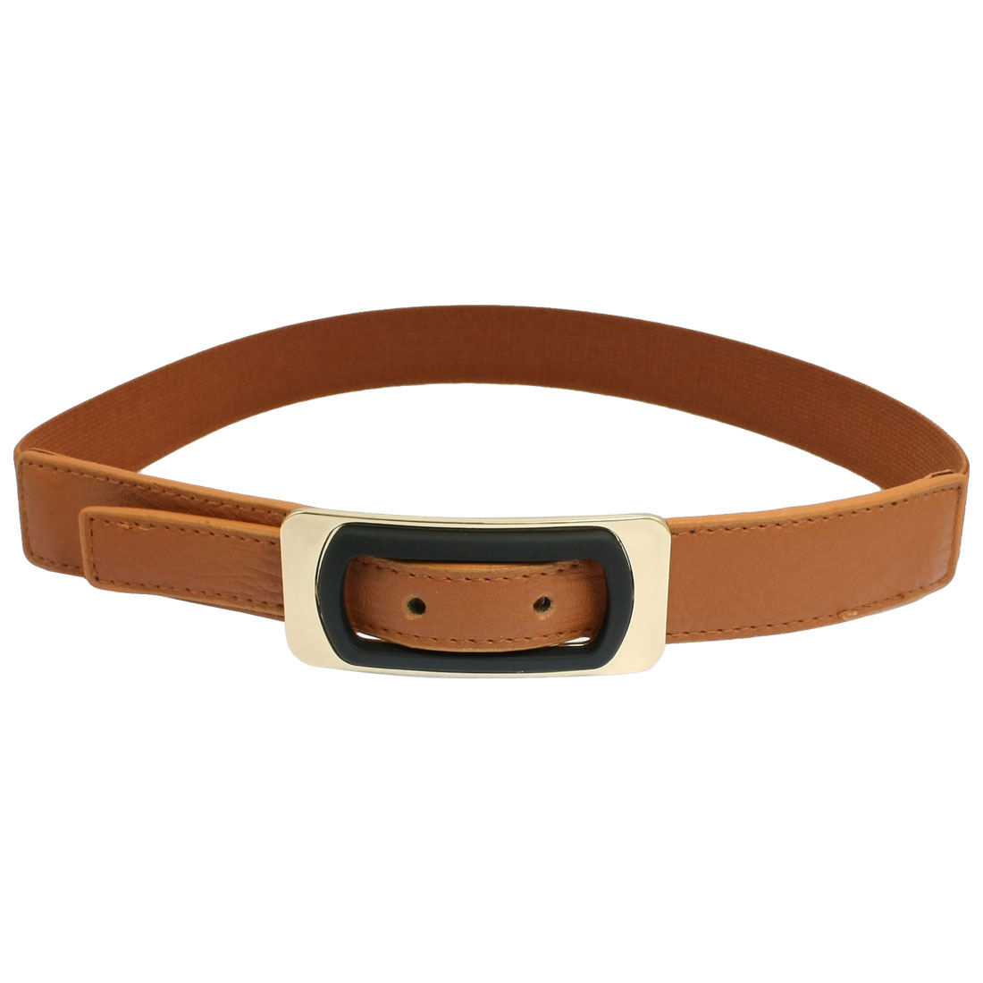 Women Rectangle Buckle Brown Faux Leather Stretch Waistband Strap Cinch