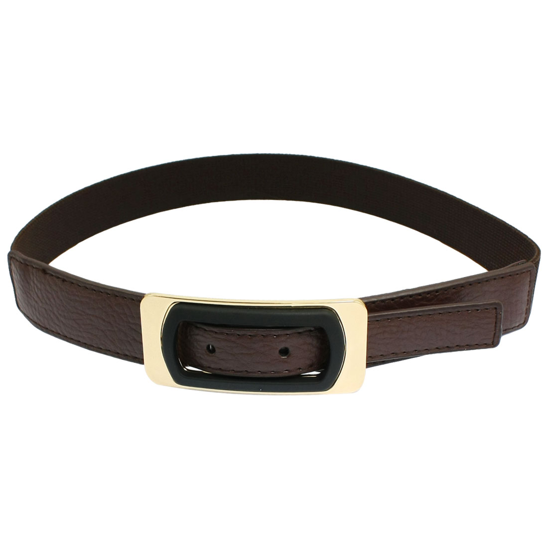 Lady Rectangle Buckle Faux Leather Coffee Color Elastic Waistband Strap Cinch