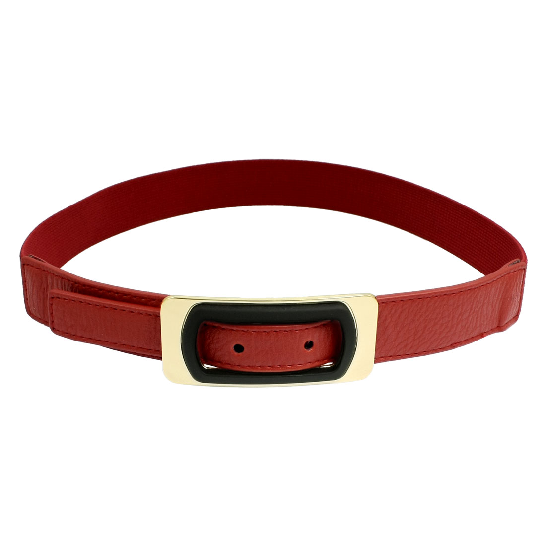 Ladies Rectangle Buckle Red Faux Leather Elastic Waist Belt Band Cinch