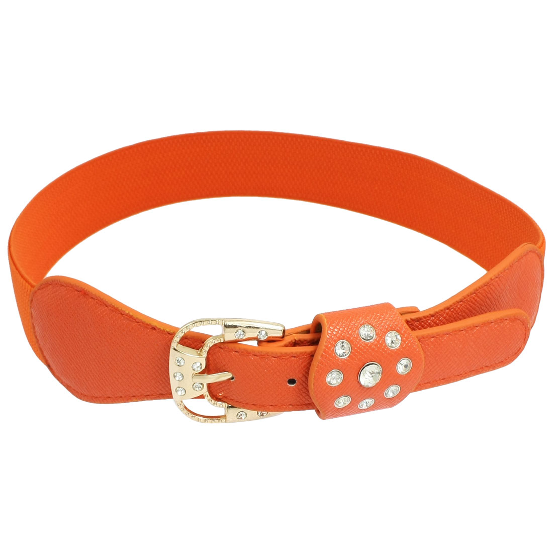 Woman Clear Rhinestone Gold Tone Buckle Orange Faux Leather Stretch Waistband