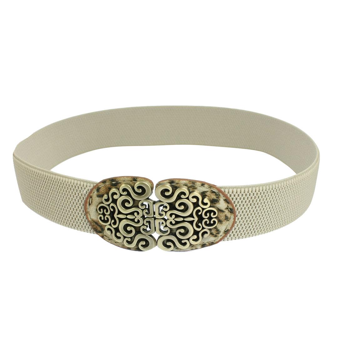 Bronze Tone Spiral Buckle Leopard Print Beige Elastic Waist Belt for Women