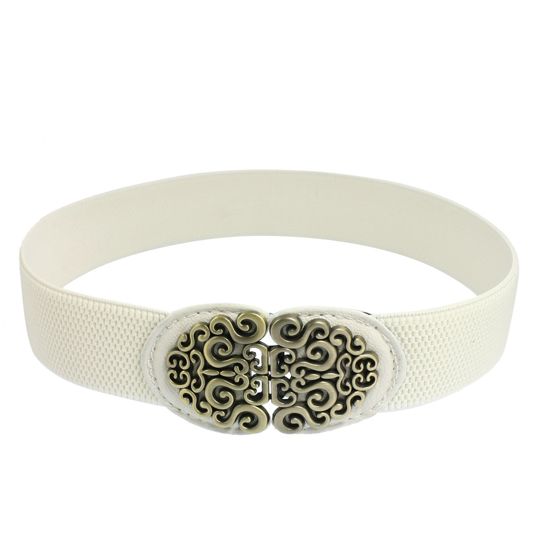 Woman Bronze Tone Spiral Detail Buckle Closure White Stretchy Waist Band