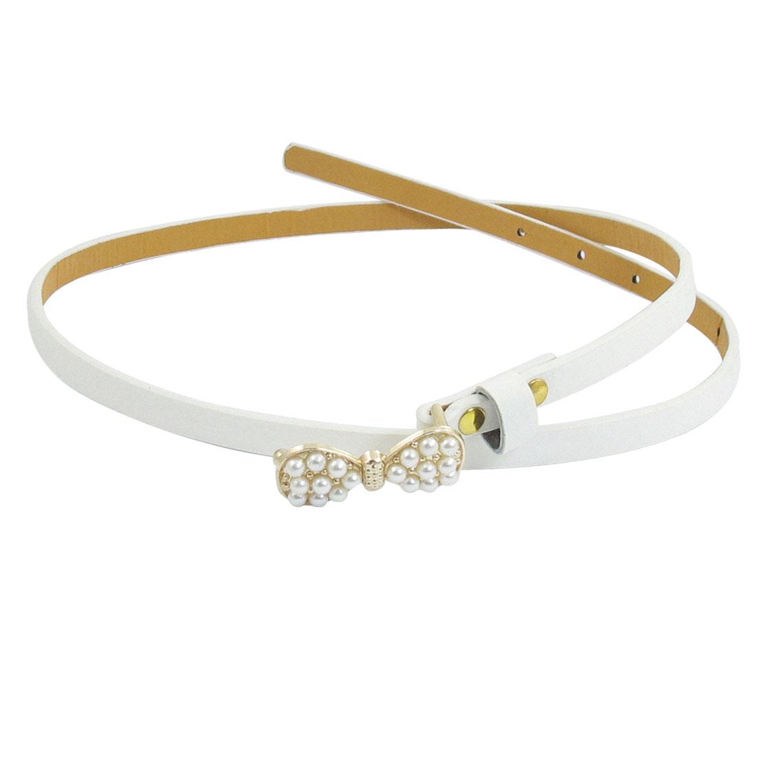 Women Dress Shirt Decor Slim White Adjustable Waistband Belt