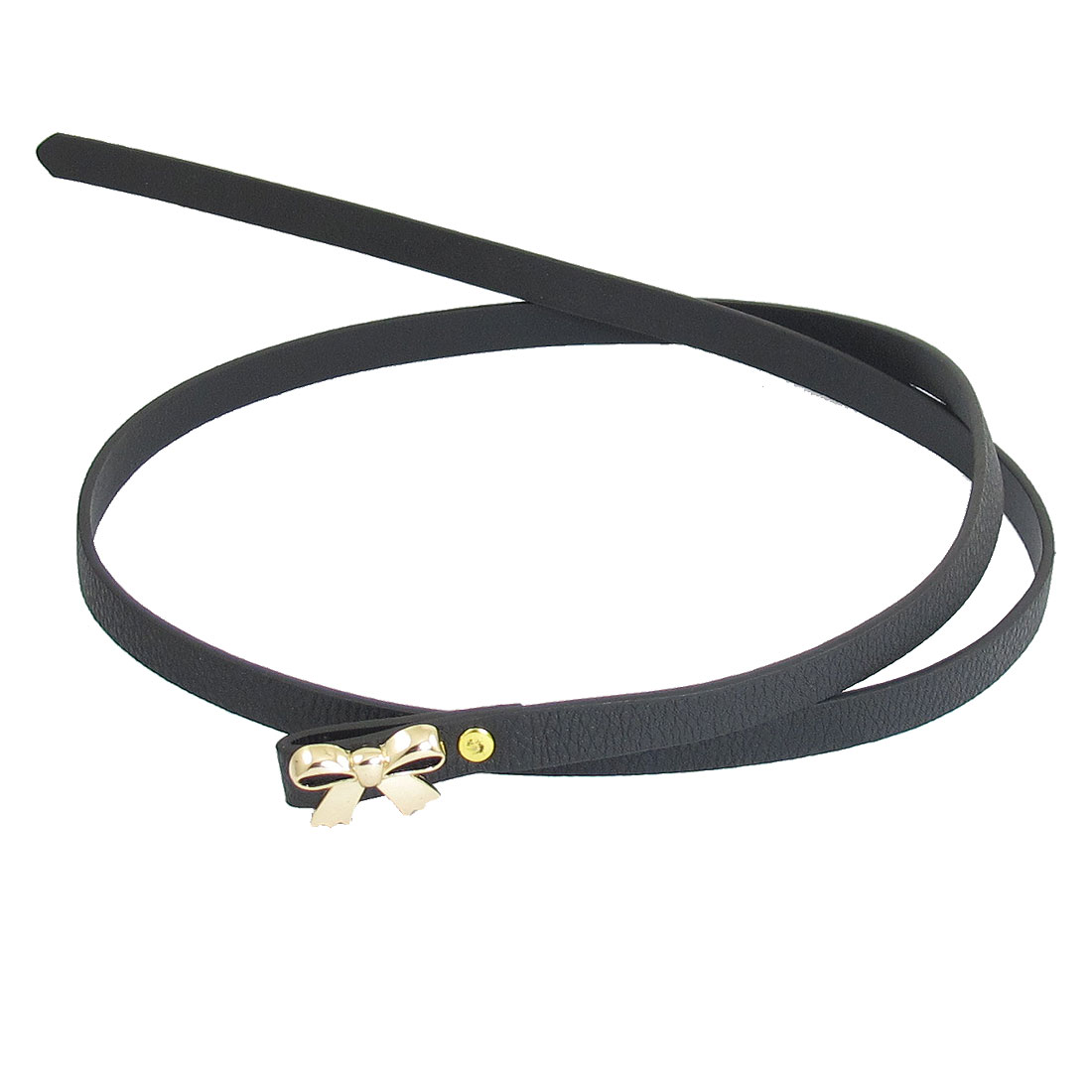 Ladies Gold Tone Bowknot Decor Black Dress Waistband Belt