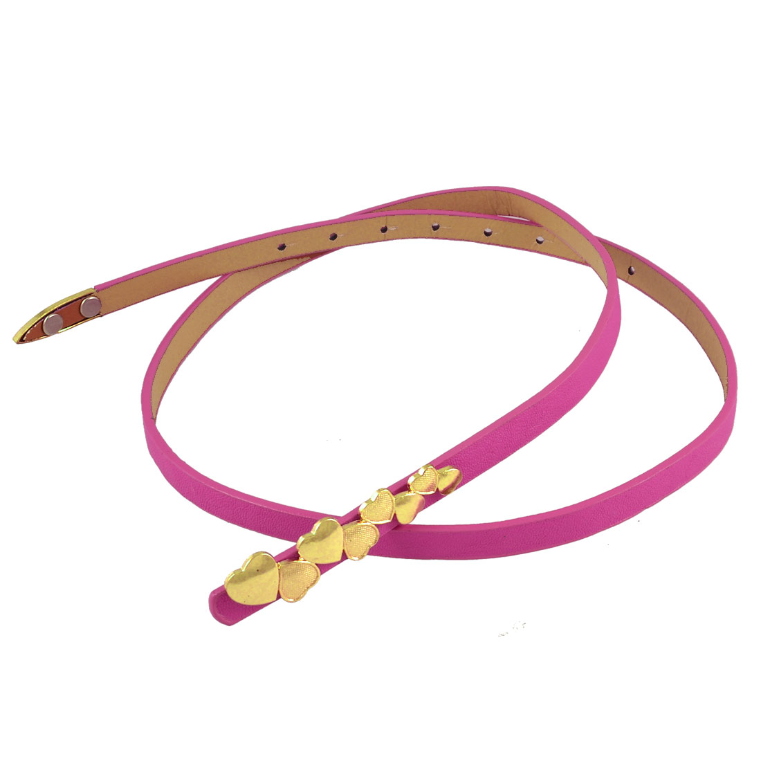 Metal Heart Detail Buckle Fuchsia Waistband Belt for Ladies