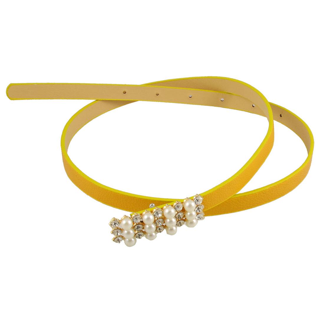 Woman Bead Accent Fashion Dark Yellow Perforated Slim Band Belt