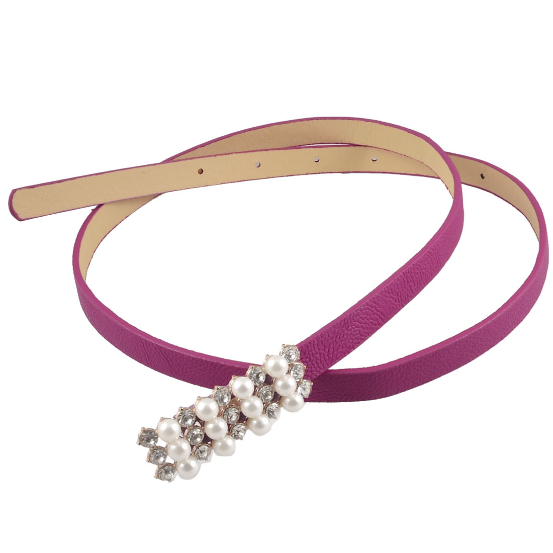Woman White Bead Accent Fashion Fuchsia Perforated Slim Band Belt