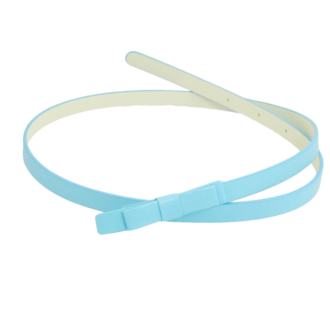 Ladies Sky Blue Double Layer Bowknot Press Buckle Waistband Belt