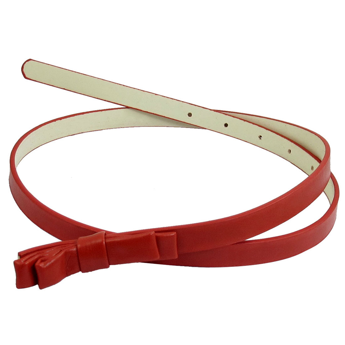 Ladies Red Double Layer Bowknot Press Buckle Perforated Belt