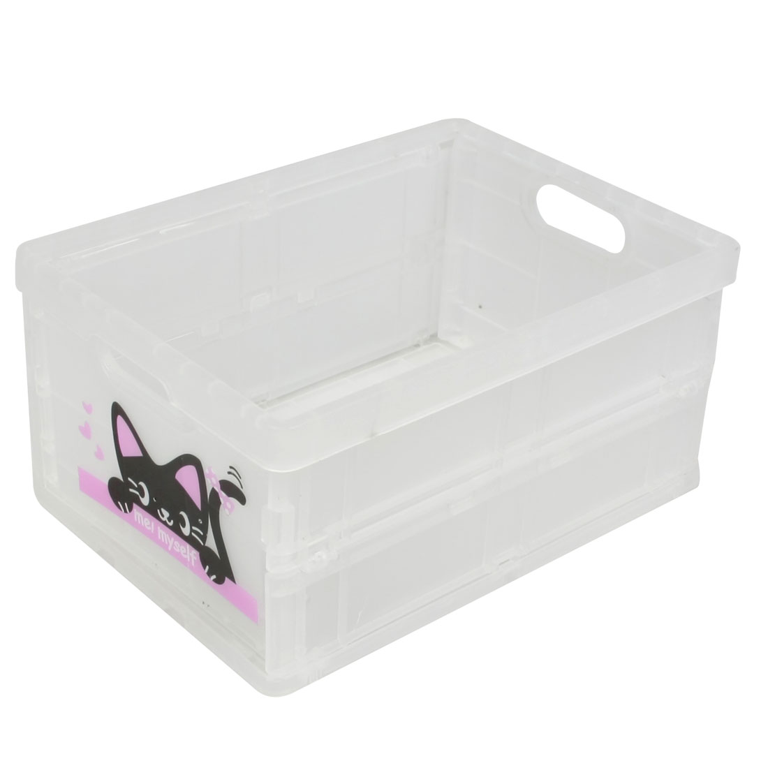 Clear White Plastic Foldable Storage Case Organizer w Paper Lid