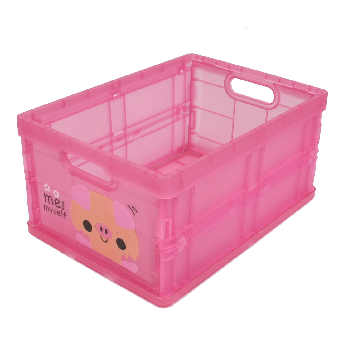Cute Pig Pattern Fuchsia Plastic Foldable Storage Case w Paper Lid