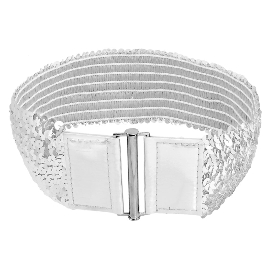 Woman Silver Tone Sequin Elastic Fashion Cinch Belt