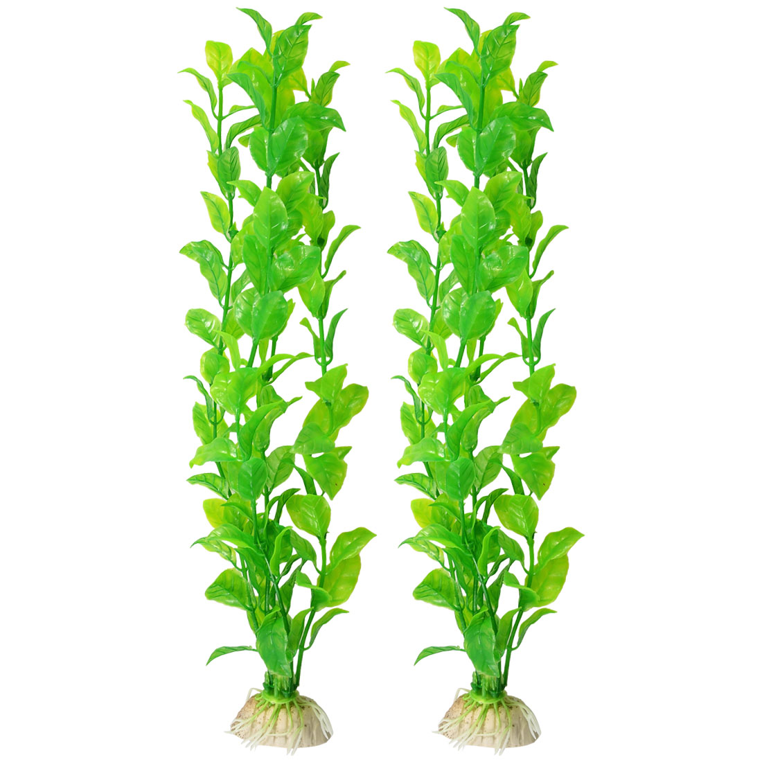 "2 Pcs Aquarium Fish Tank Aquascaping Green Plastic Plant 12.2"" Tall"