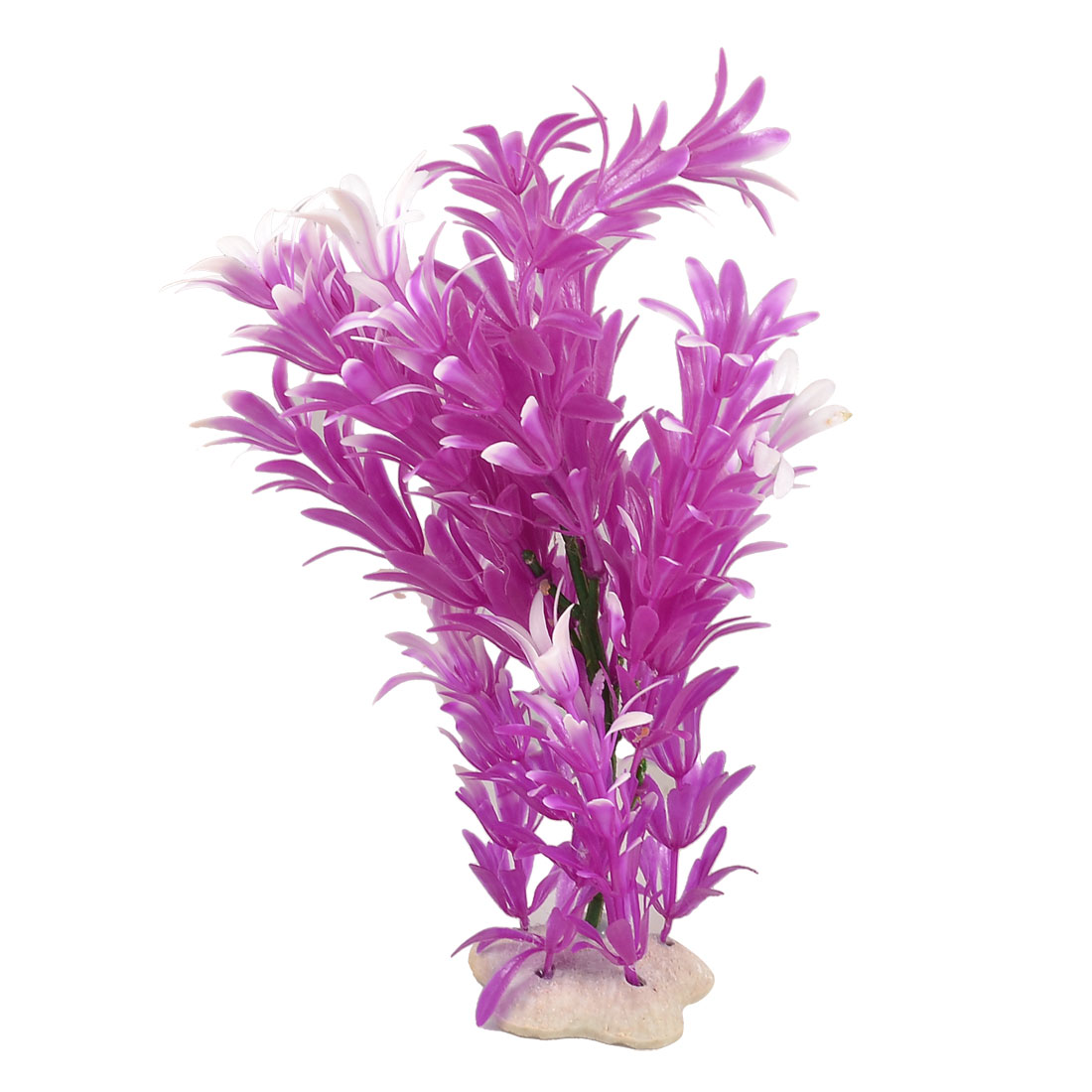 "Manmade Plastic Fuchsia White Leaves Plant for Aquarium 8.7"" Height"
