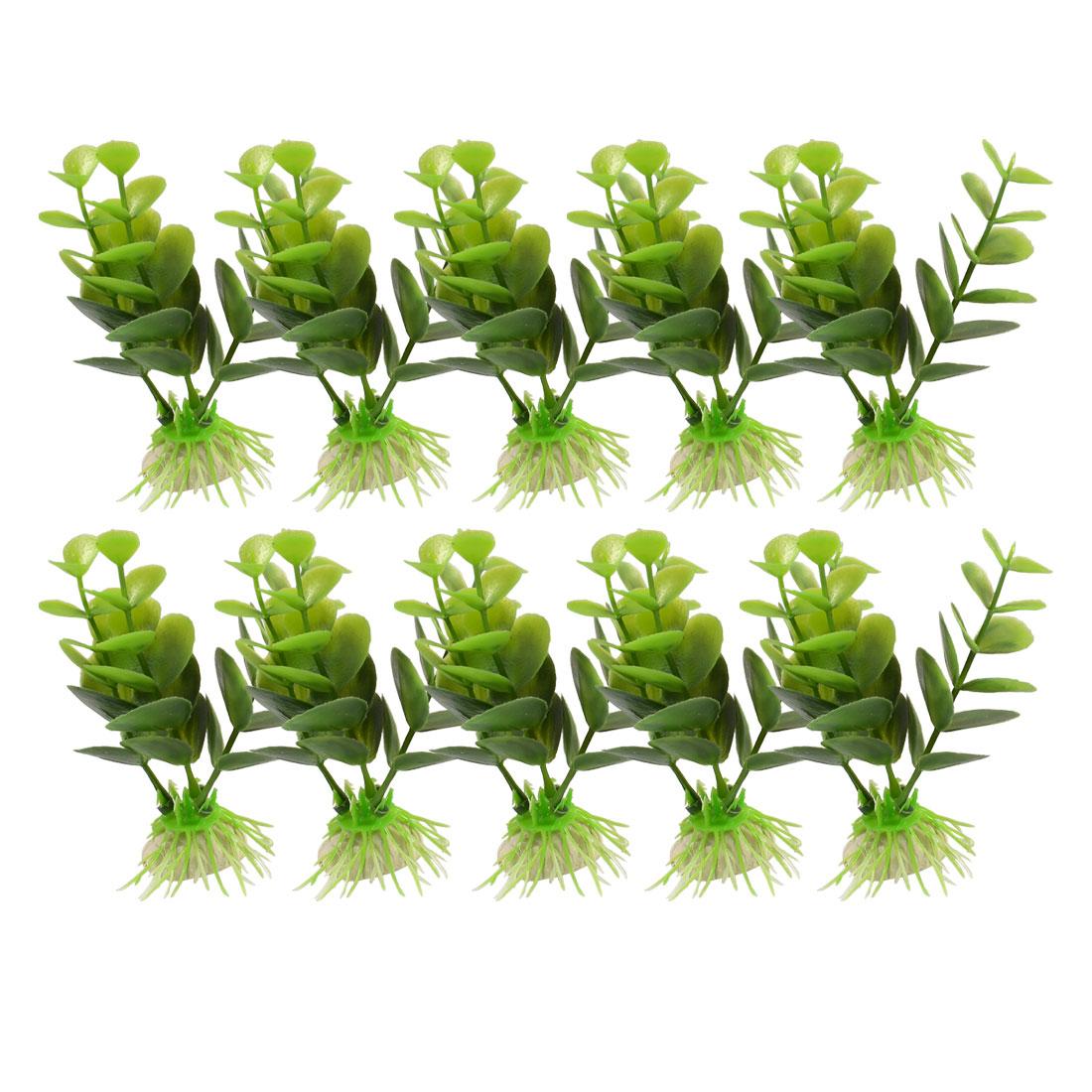 """10 Pcs Manmade Plastic Dark Green Leaves Plant for Aquarium 3.9"""" Height"""
