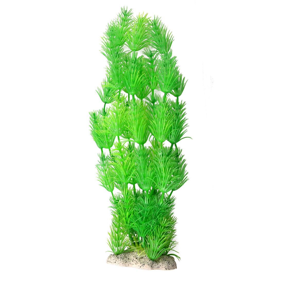 "Aquarium Plastic Green Needle Leaves Plant Decor 12.6"" High w Ceramic Base"