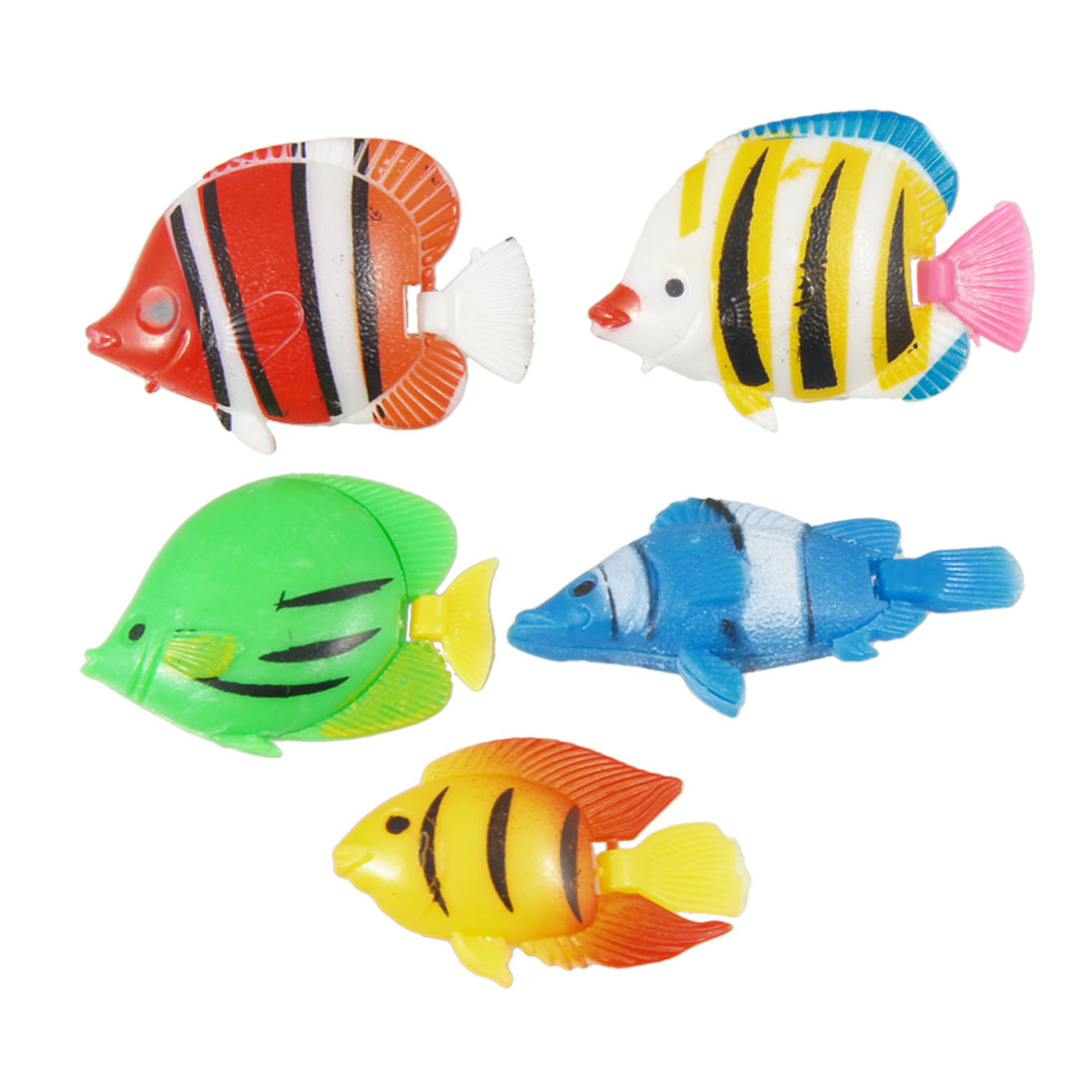 5 Pcs Simulated Plastic Striped Tropical Fishes Ornament for Fish Aquarium