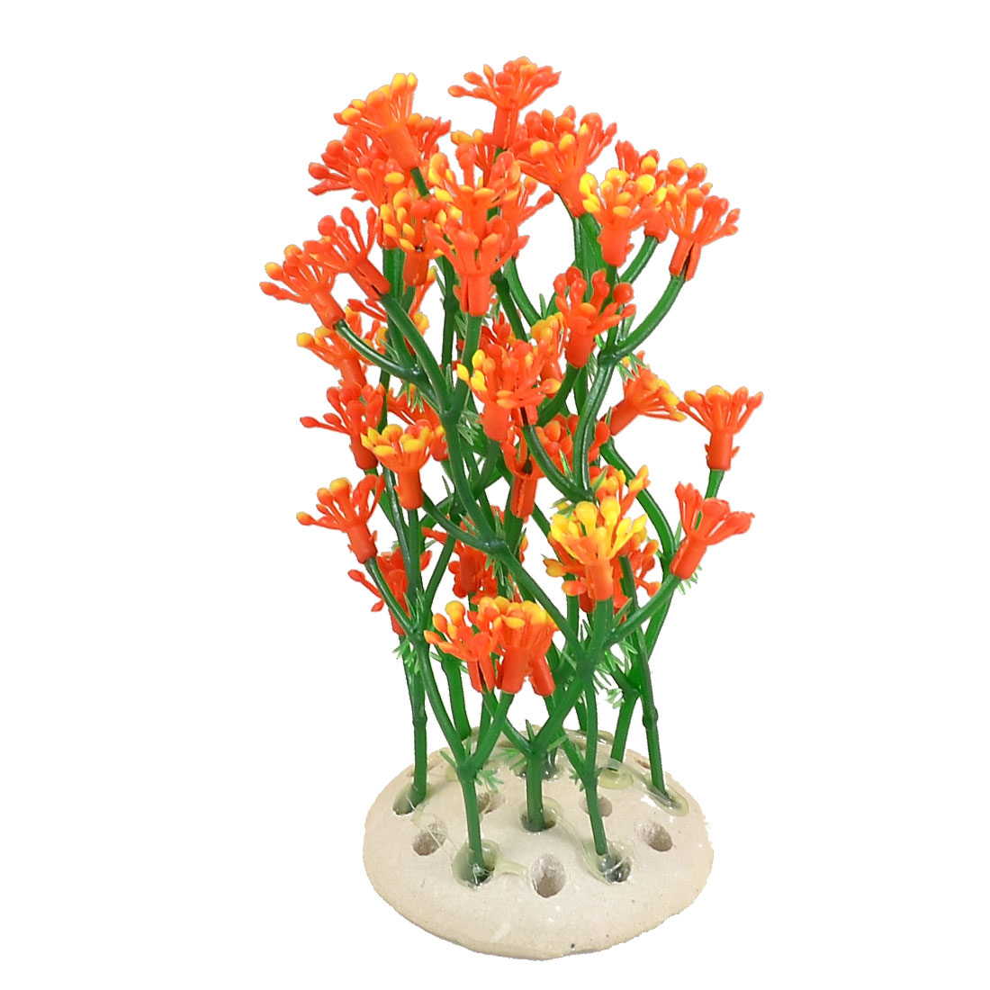 "4.7"" Height Emulational Aquatic Plants Orange Red Flower for Fish Tank"
