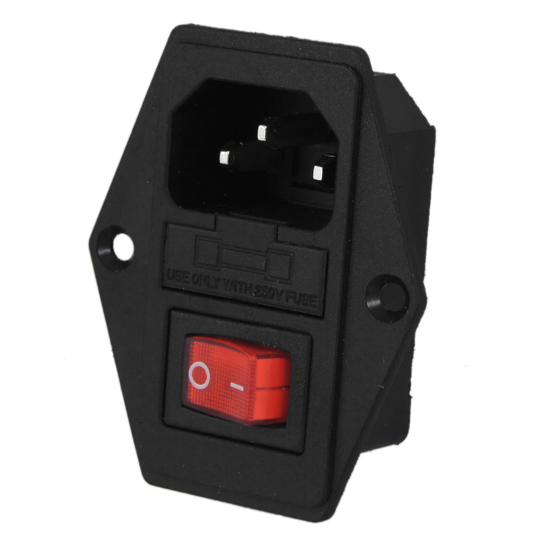 Black Red AC 250V 10A 3 Pole 6 Terminals Power Socket w Switch