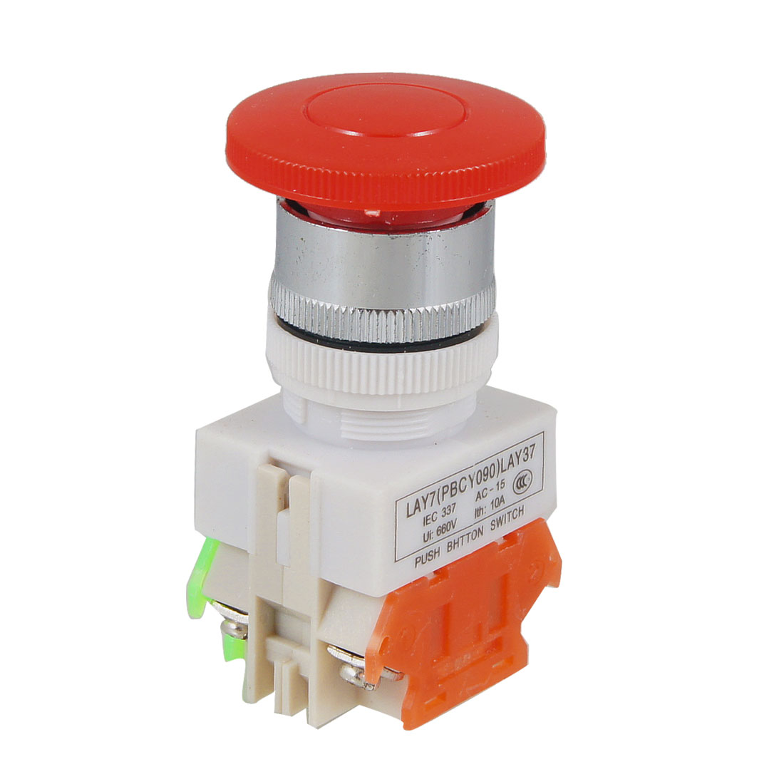 Red Mushroom Cap DPST Momentary Push Button Switch 660V 10A
