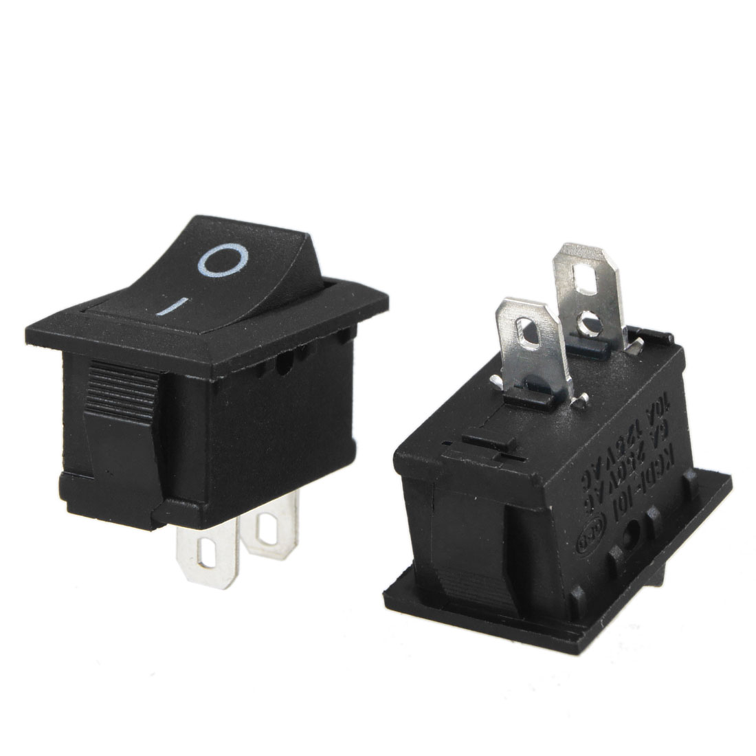 2 Pcs Black AC 250V 6A 2 Pin SPST On/off Snap-In Boat Rocker Switch