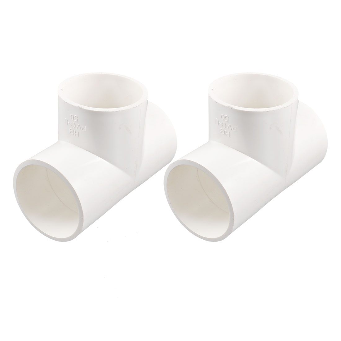 2 Pcs White 3 Way Water Hose Fitting Coupler Connectors 50mm