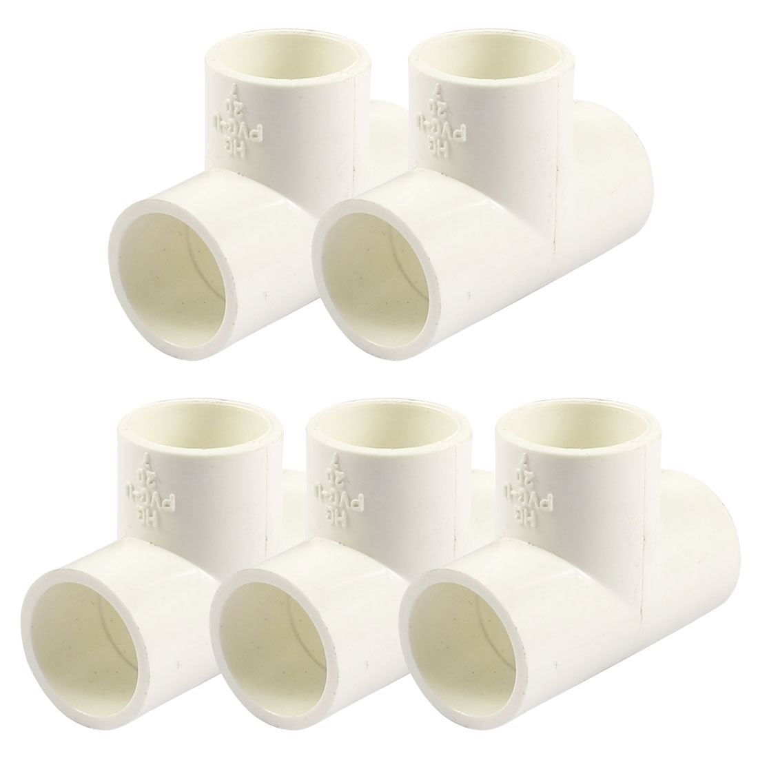 20mm PVC Tee 3 Way Water Pipe Tube Adapter Connectors White 5 Pcs
