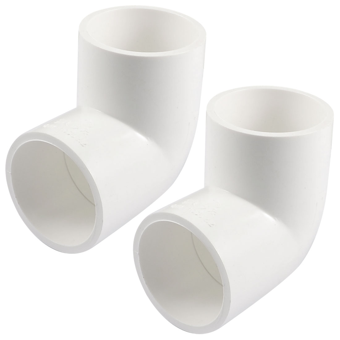 PVC-U 40mm Drainage Pipe Adapter Connector 90 Degree Elbow White 2 Pcs