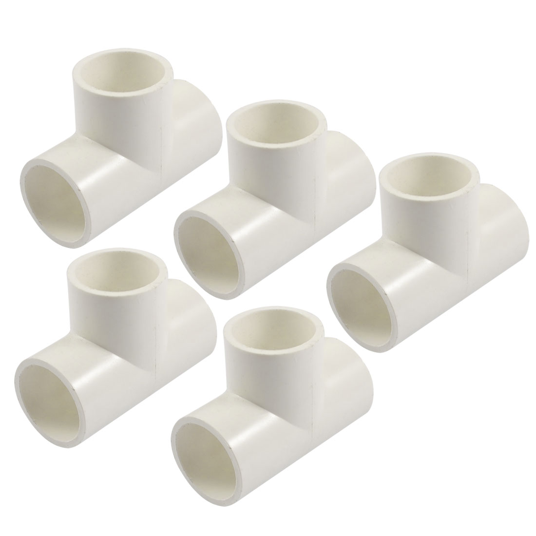25mm PVC Tee 3 Way Water Pipe Tube Adapter Connectors White 5 Pcs