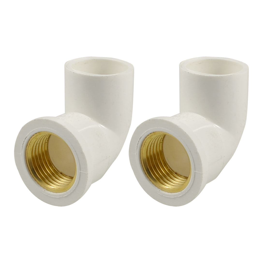 "1/2"" Brass Female Thread x 20mm PVC Slip Right Angle Pipe Elbow Coupler White 2 Pcs"