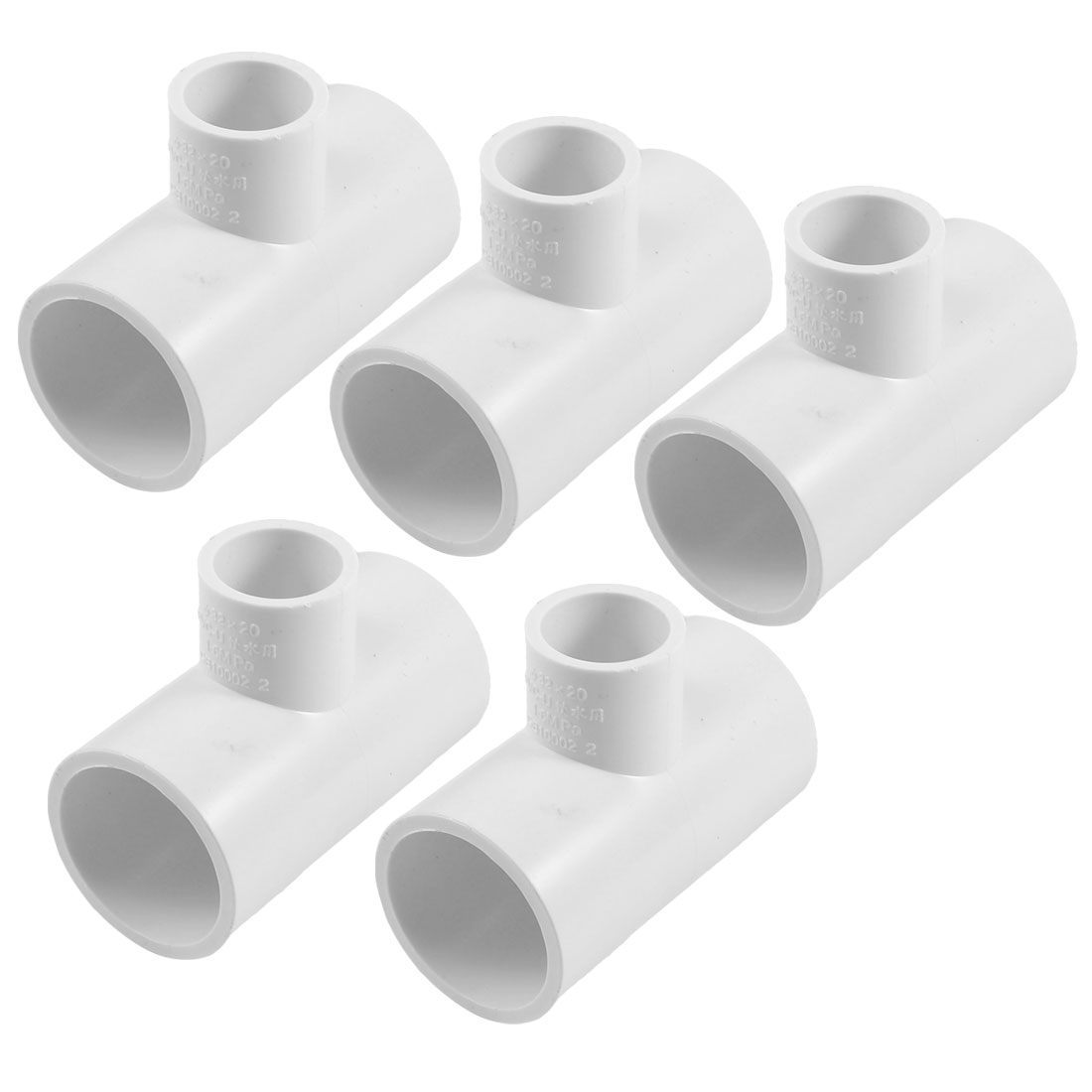 32mm to 20mm White Three Way PVC Pipe Fittings Tee Slip Connectors 5 Pieces