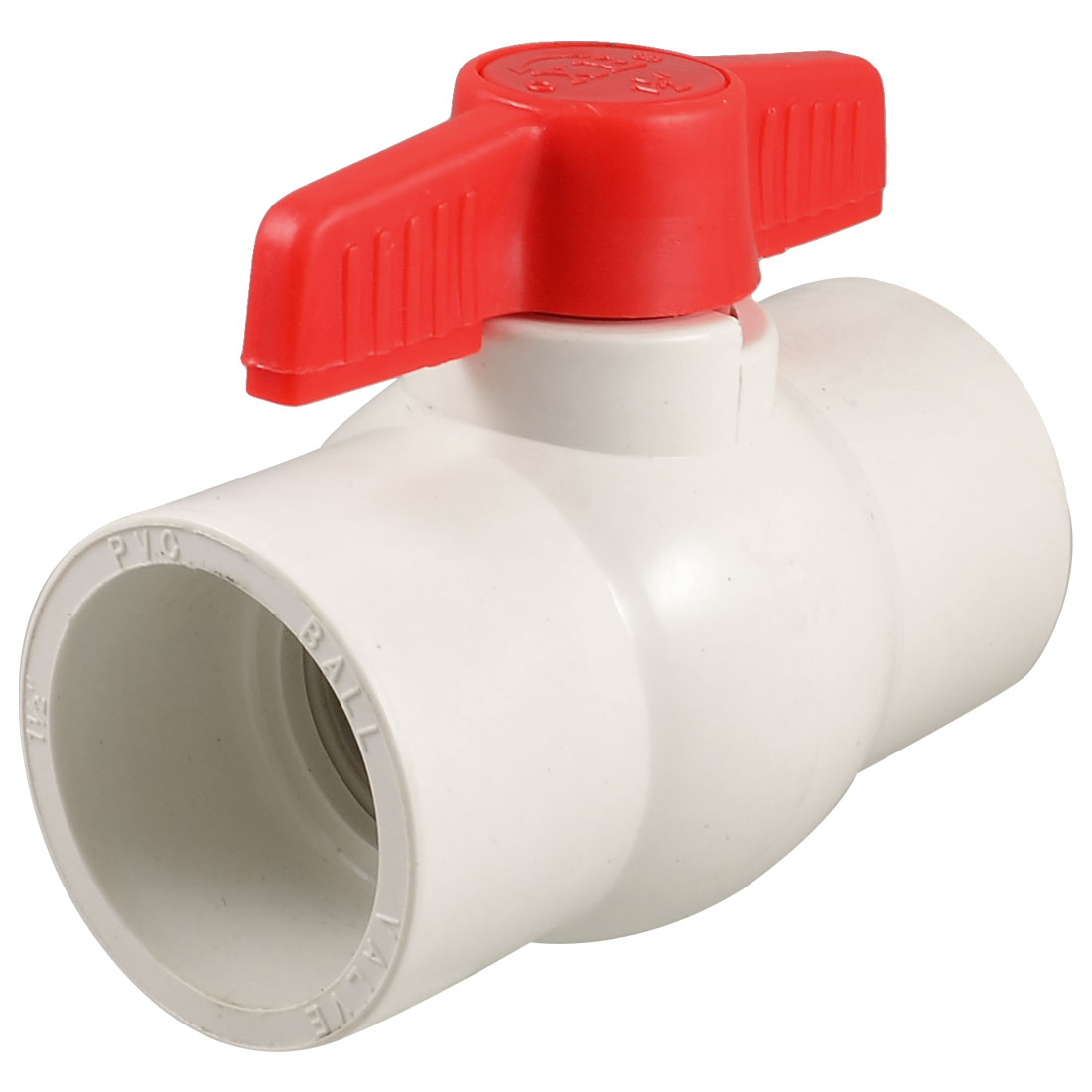 "1.97"" x 1.97"" Slip Ends Two Way Ports PVC Ball Valve White Red"