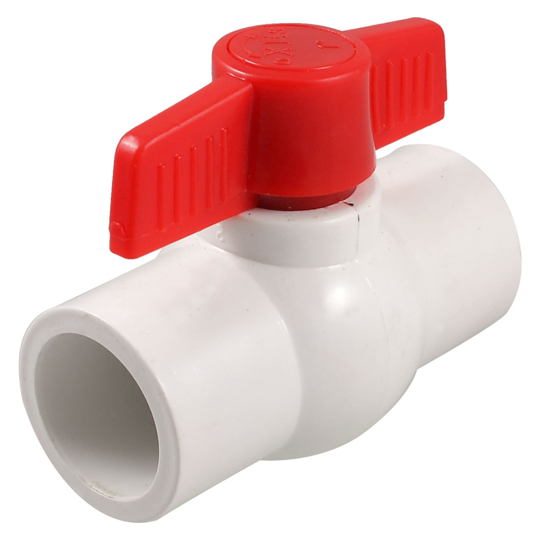 "1.3"" x 1.3"" Slip Ends Two Way Ports PVC Ball Valve White Red"
