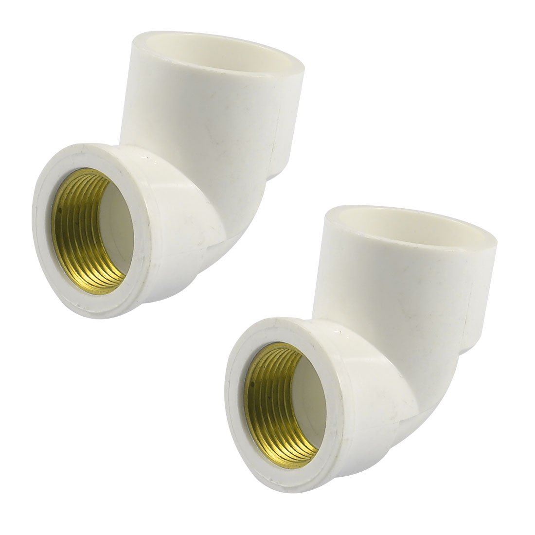 "3/4"" Brass Female Thread x 32mm PVC Slip Right Angle Pipe Elbow Coupler White 2 Pcs"