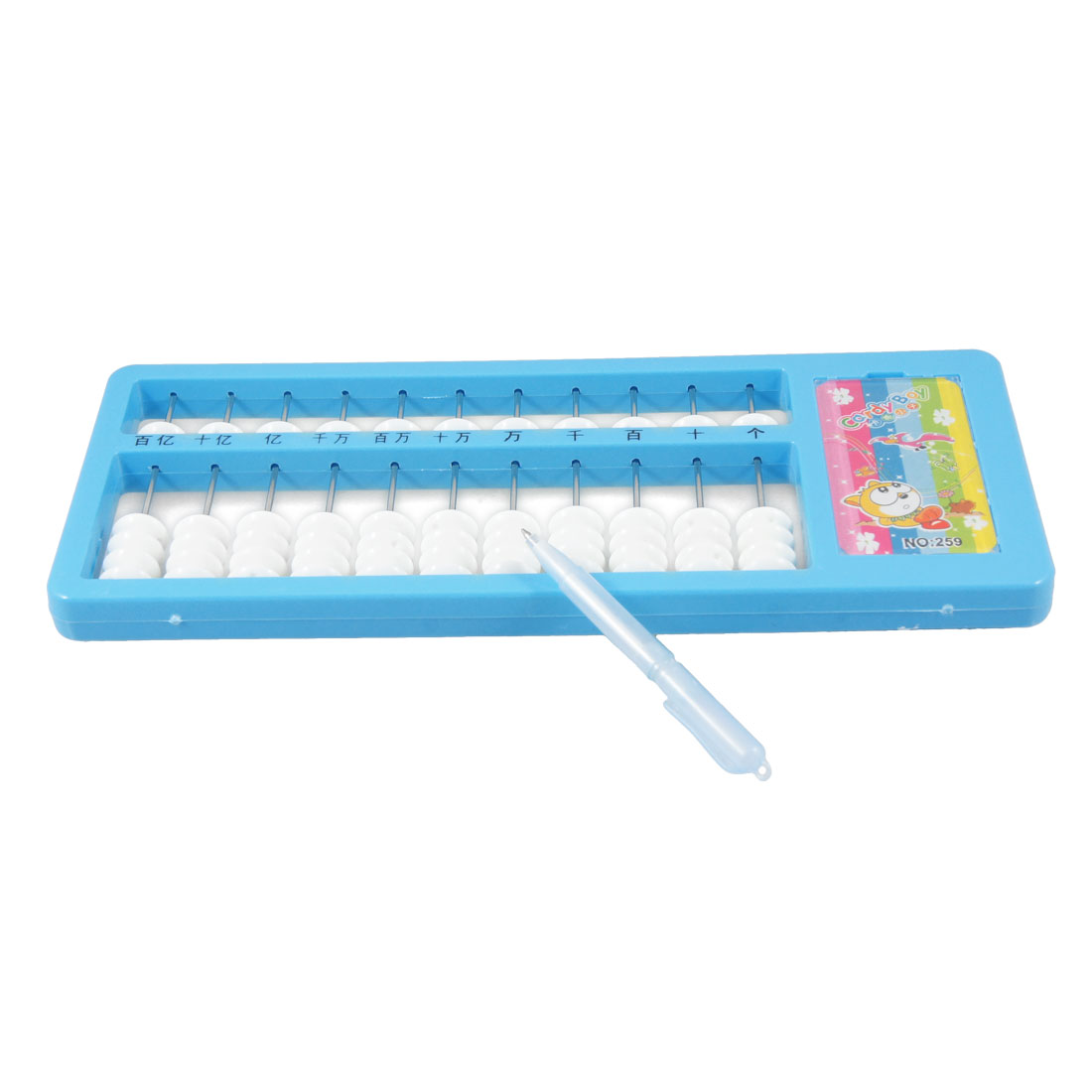 Music Note Accent Blue Plastic Frame 55 White Beads 11 Digits Abacus Soroban