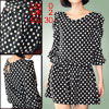 Women Puff Sleeves Elastic Waist Dots Prints Romper Black XS