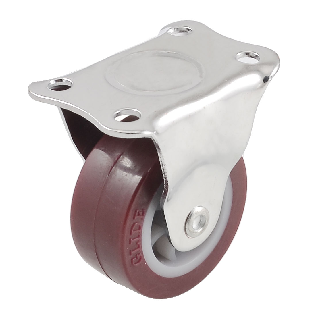 Plastic Metal Flat Plate 50mm Fixed Type Rigid Caster Wheel Burgundy