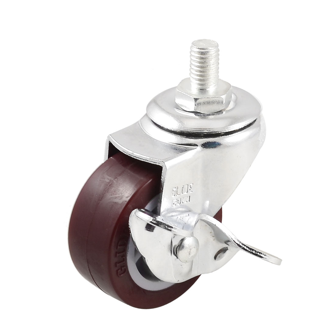 50mm Single Wheel 360 Degree Side Brake Threaded Stem Swivel Caster Burgundy