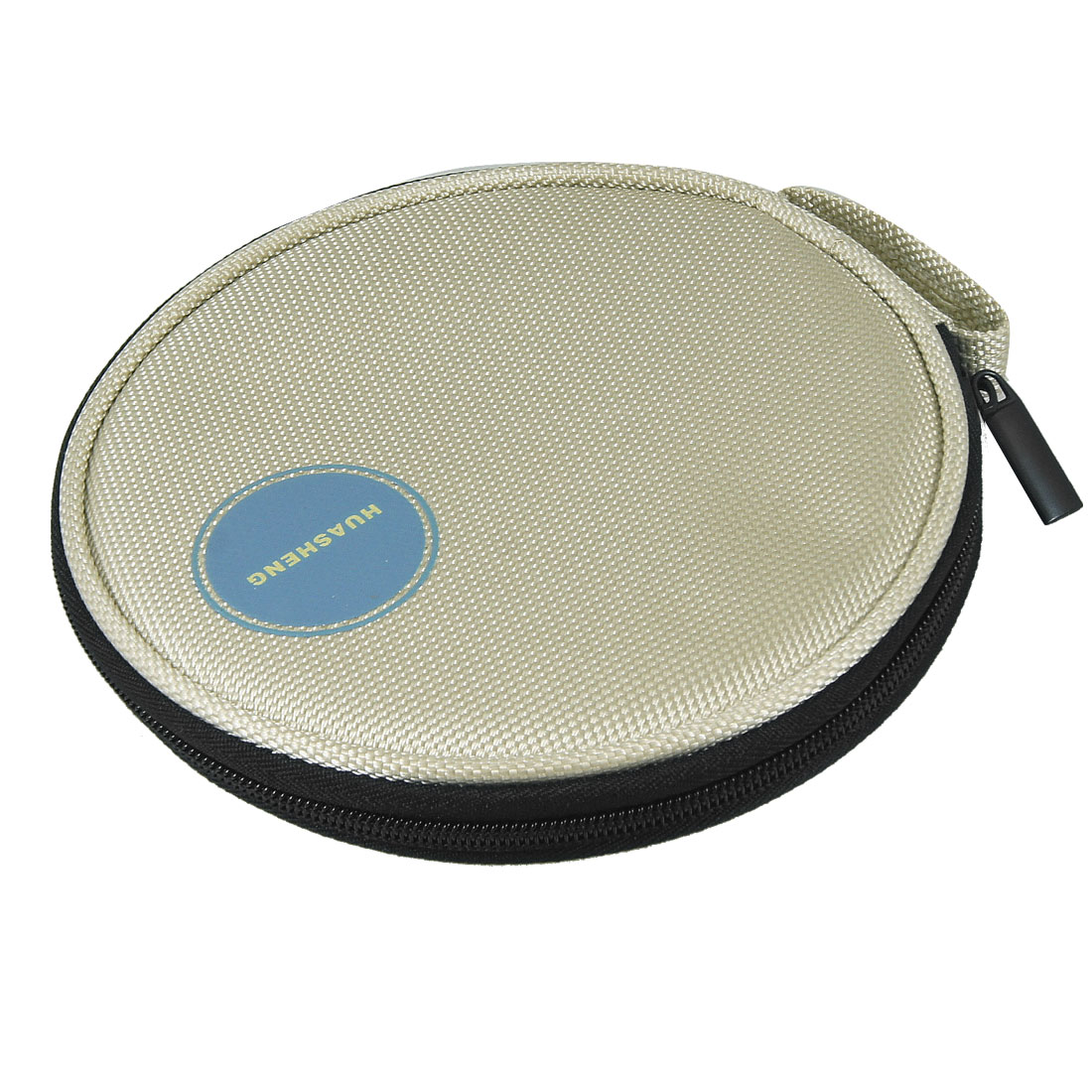 Beige Nylon 10 Sheets 20 Pieces Capacity Auto Car CD DVD Round Case Bag Holder