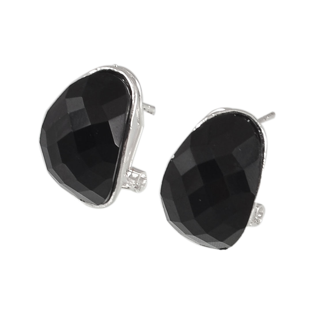 Lady Black Faceted Crystal Decor Oval Shaped Eardrop Stud Earrings Pair